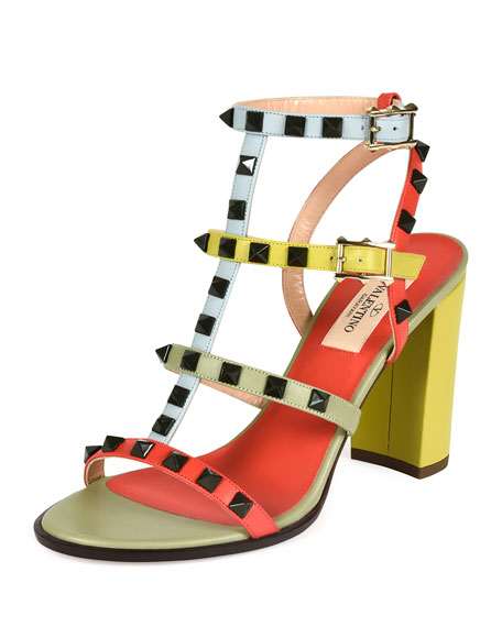 Valentino Lacquered Rockstud Chunky-Heel Sandal, Coral/Army Avocado