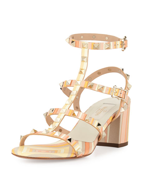 Valentino Rockstud Striped Leather Sandal, Mandarin Sorbet
