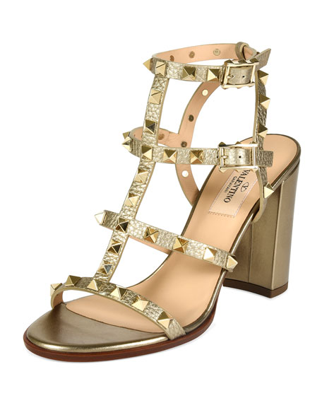 Valentino Metallic Rockstud 90mm City Sandal, Alba