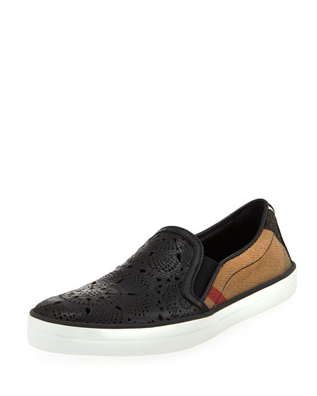 Burberry Gauden Check Laser-Cut Slip-On Sneaker, Black