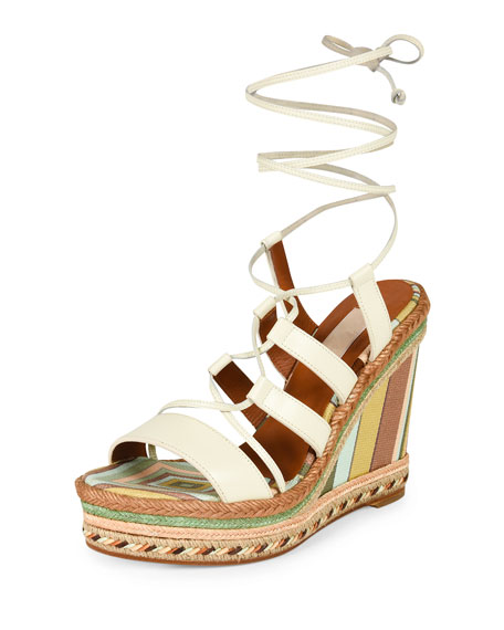Valentino Leather Lace-Up Espadrille Sandal, Ivory/Green Tea