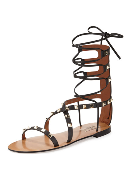 Valentino Flat Rockstud Gladiator Sandal, Black (Nero)