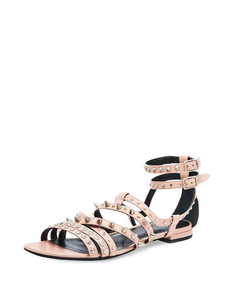 Saint LaurentStrappy Studded Flat Sandal, Pale Pink
