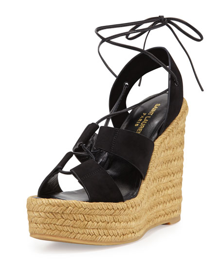 Saint Laurent Suede Lace-Up Espadrille Sandal, Black/Multi