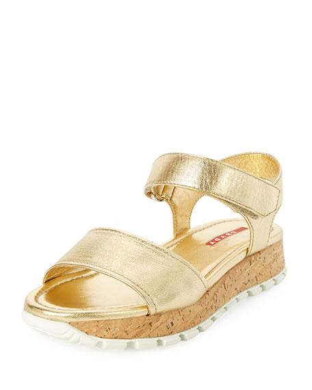 PradaMetallic Napa Cork Platform Sandal, Platino
