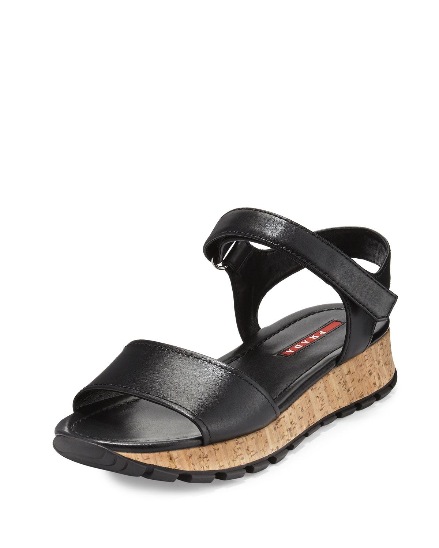 31c626d15372 Prada Linea Rossa Leather Cork Platform Sandal