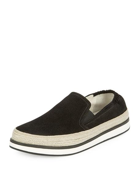 Prada Suede Espadrille Skate Sneaker, Black (Nero)