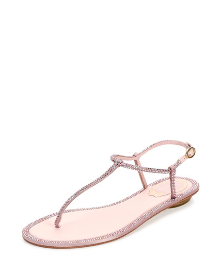 Rene Caovilla Crystal Flat Thong Sandal, Rose Pink