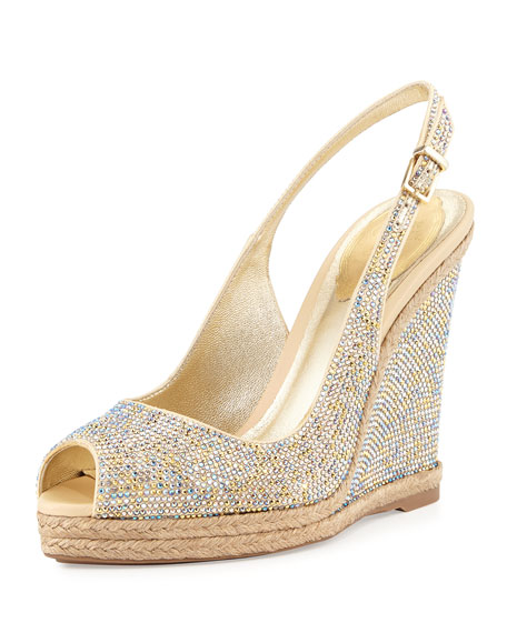 Rene Caovilla Crystal Wedge Espadrille Sandal, Gold