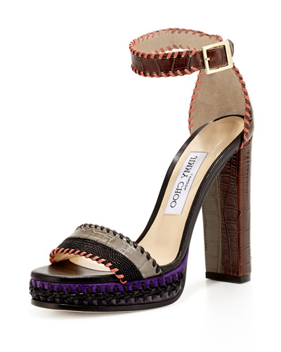 Jimmy Choo Holly Textured 120mm Sandal, Black/Dust/Pecan