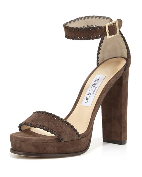 Jimmy Choo Holly Suede 120mm Sandal, Black/Pecan