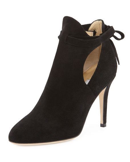 Jimmy Choo Marina Suede Cutout Bootie, Black