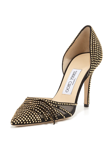 Kyra Studded 85mm d'Orsay Pump, Black/Gold