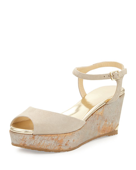 Jimmy Choo Perla 70mm Suede/Cork Wedge Sandal, Marble