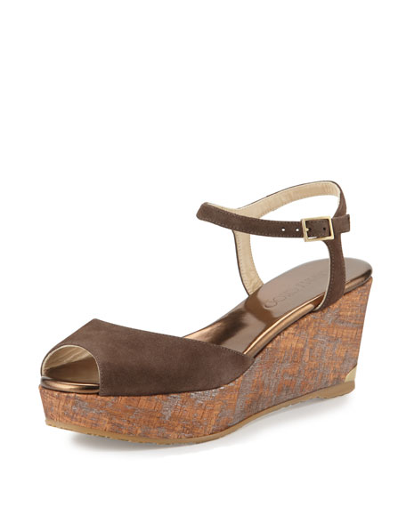 Jimmy Choo Perla Suede/Cork Wedge Sandal, Pecan