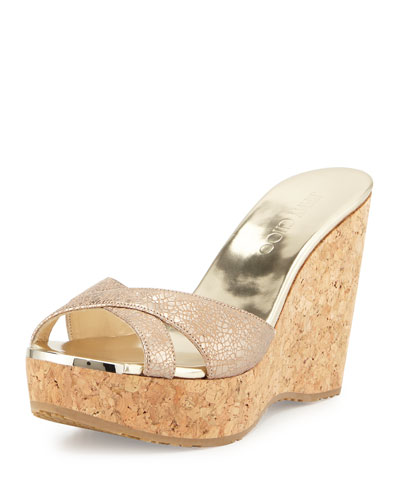 Perfume Metallic Wedge Slide Sandal, Nude