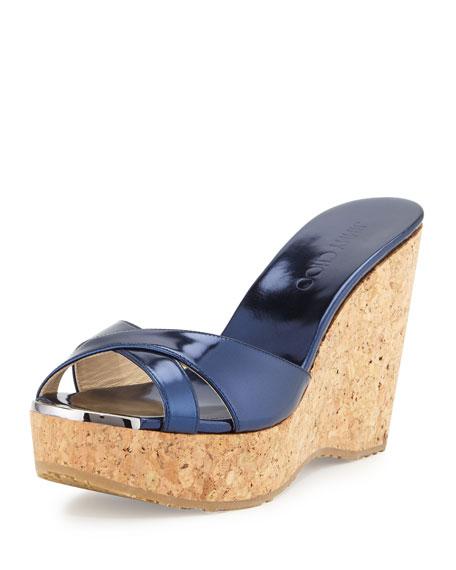 Jimmy Choo Perfume Metallic Wedge Slide Sandal, Denim