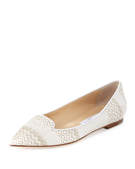 Jimmy ChooAttila Woven Pointed-Toe Ballerina Flat, White