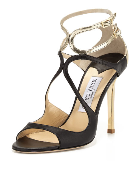 Jimmy ChooLang Metallic Leather Strappy Sandal, Black/Light
