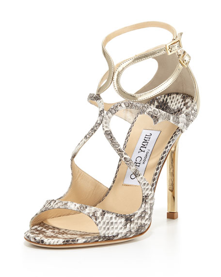 Jimmy Choo Lang Metallic Snake Strappy Sandal, Natural/Light