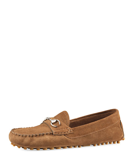 GucciRoad Horsebit Slip-On Driver, Acero