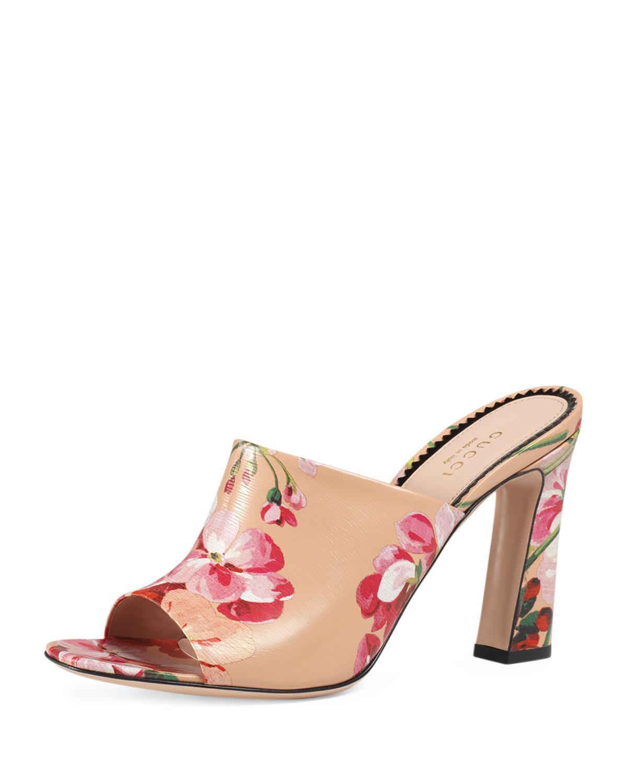 13d859052 Gucci Marine Floral-Print Slide Sandal, Apricot   Neiman Marcus