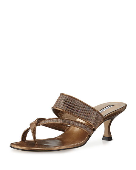 Manolo Blahnik Susametal Woven Thong Sandal, Bronze