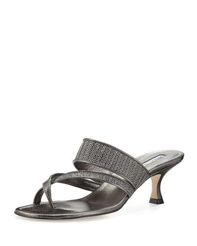 Manolo Blahnik Susametal Woven Thong Sandal, Anthracite