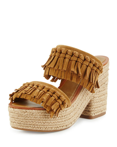 Tory Burch Fria Knotted-Fringe Espadrille Slide, Raw Umber