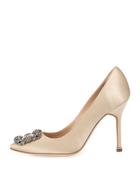 Hangisi Crystal-Buckle Satin 105mm Pump, Champagne