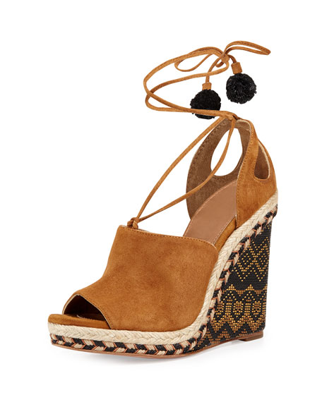 Aquazzura Palm Springs Wedge Espadrille Sandal, Cognac
