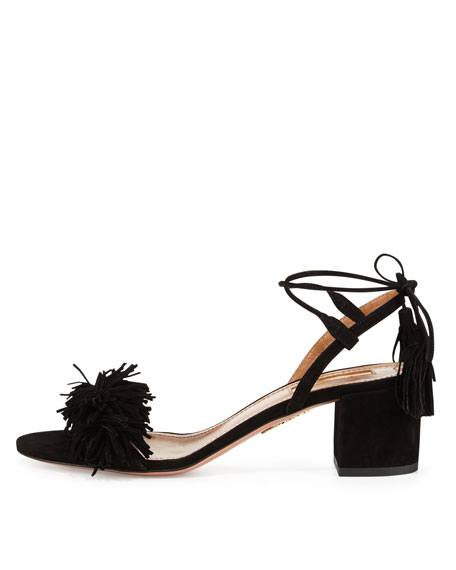 Wild Thing Suede 50mm City Sandal, Black