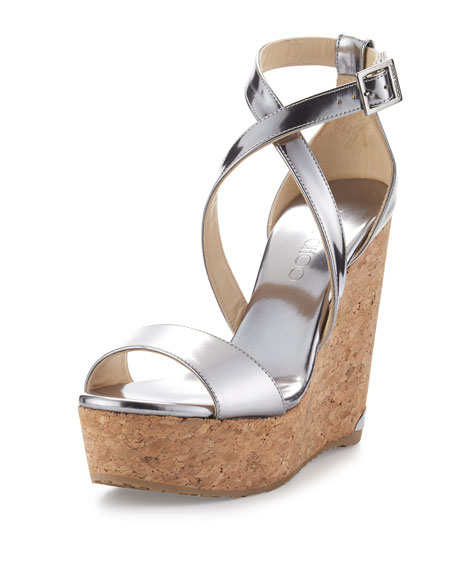 Jimmy Choo Portia Metallic Crisscross Wedge Sandal, Silver