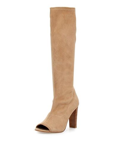 Peking Peep-Toe Knee Boot, Skin