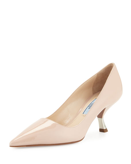 Prada Patent Comma-Heel Pointed-Toe Pump, Powder (Cipria)