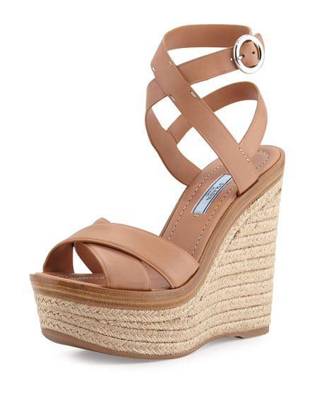 Prada Leather Ankle-Wrap Wedge Sandal, Naturale