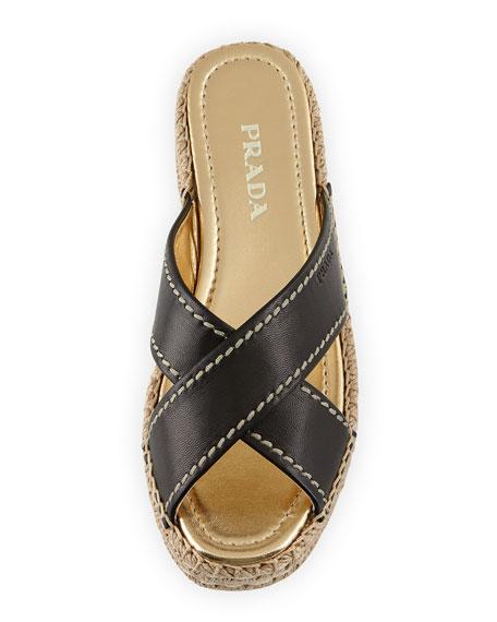 Leather Crisscross Espadrille Slide Sandal