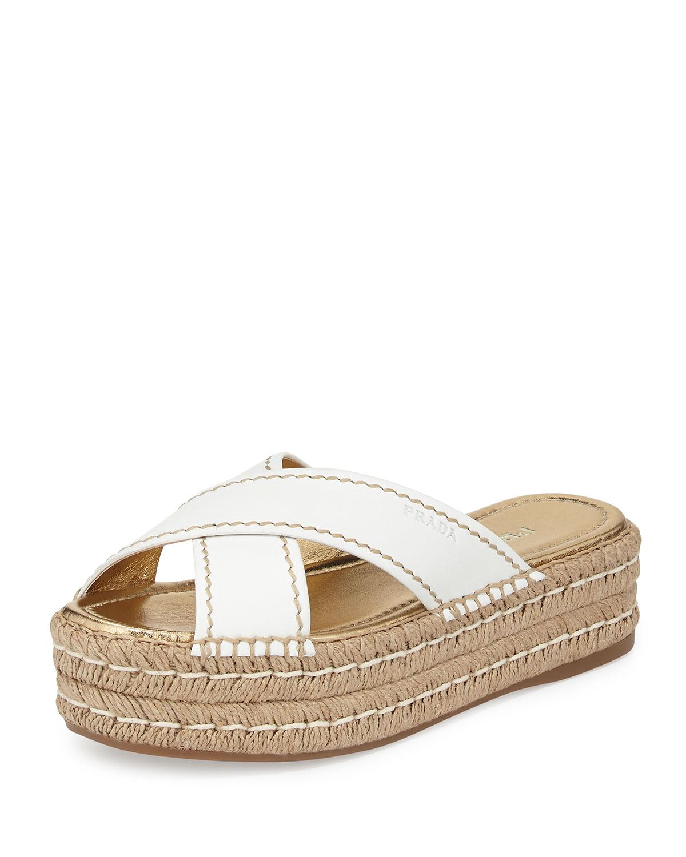 Prada Leather Crisscross Espadrille Slide Sandal, White ...