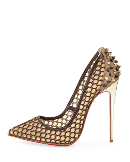 Guni Knotted 100mm Red Sole Pump, Marron Glace