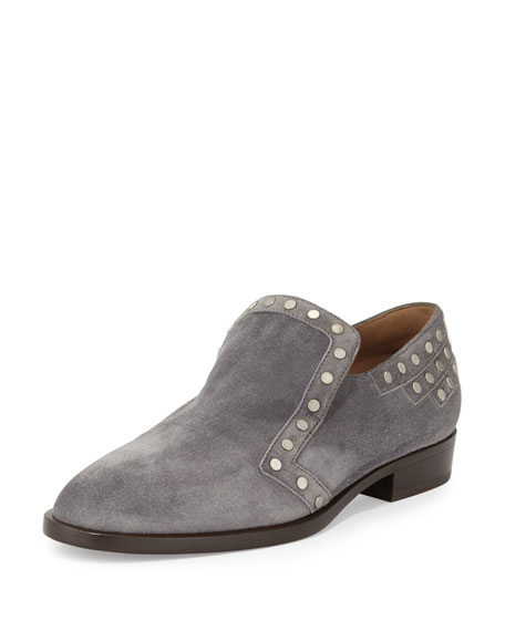 Laurence Dacade Jay Studded Suede Loafer, Gray