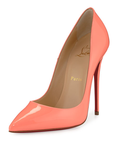replica louboutins - Christian Louboutin So Kate Patent 120mm Red Sole Pump, Flamingo