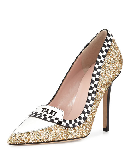 kate spade new yorklexi taxi glitter/patent pump, gold