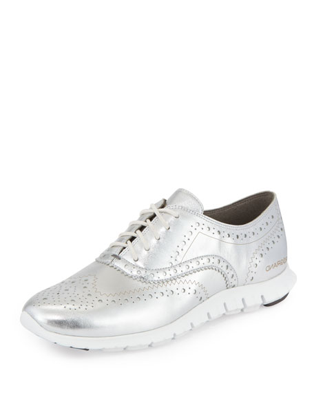 Cole Haan ZeroGrand™ Metallic Wing-Tip Oxford Sneaker, Argento/White