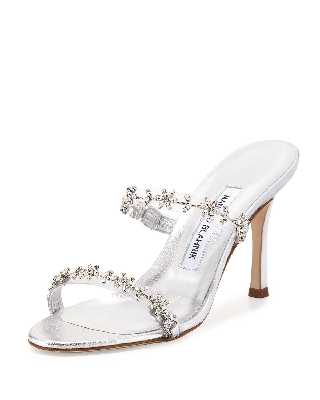 manolo blahnik diora floral crystal slide sandal silver neiman marcus rh neimanmarcus com