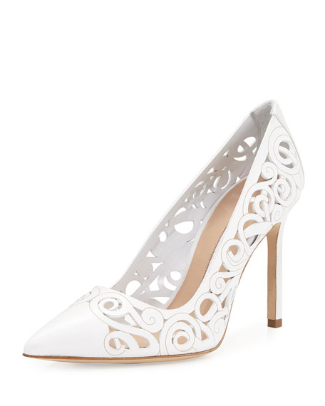 Manolo Blahnik BB Roc Laser-Cut 105mm Pumps, White