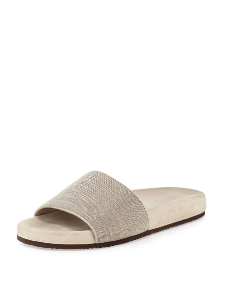 Brunello Cucinelli Monili One-Band Flat Sandal Slide, Desert