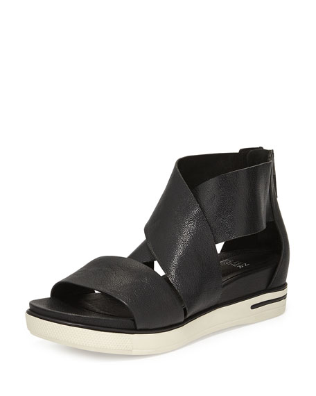 Eileen FisherSport Wide-Strap Leather Sandal, Black