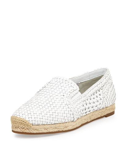 Toni Woven Leather Espadrille Flat, Optic White