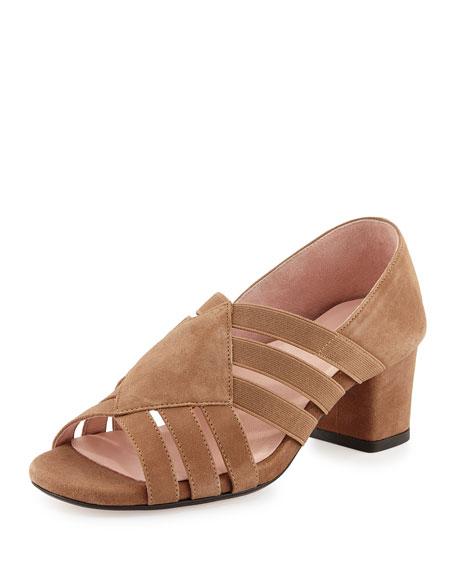 Taryn Rose Rilee Suede Chunky-Heel Sandal, Quinoa