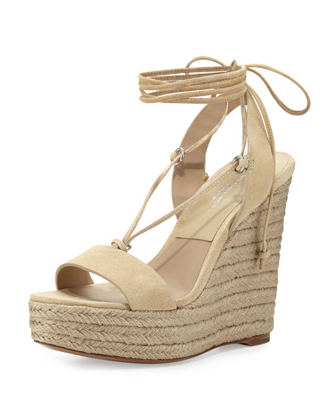 Clive Suede Lace-Up Wedge Espadrille Sandal, Ecru